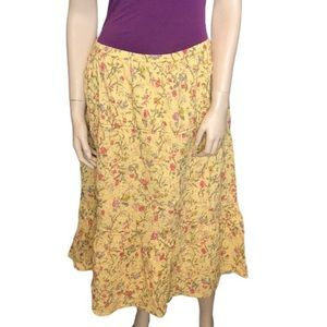 April Cornell Large A-line Pleated Floral skirt
